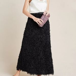Anthropologie Chantal Feathered Black Maxi Skirt